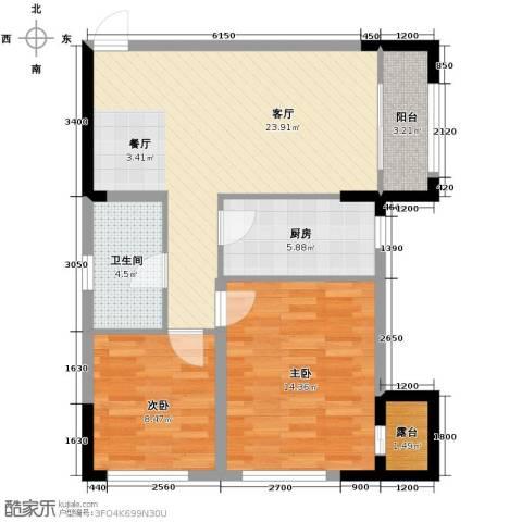 中海紫御华府2室2厅1卫0厨91.00㎡户型图