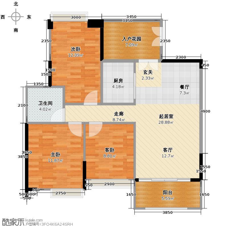 富力金港城97.00㎡H21・H23栋02单元户型3室2厅1卫