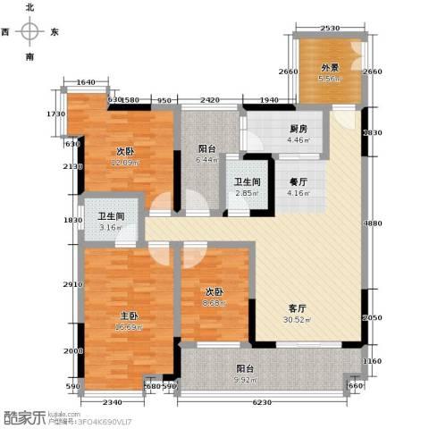 春江花月3室1厅2卫1厨104.00㎡户型图
