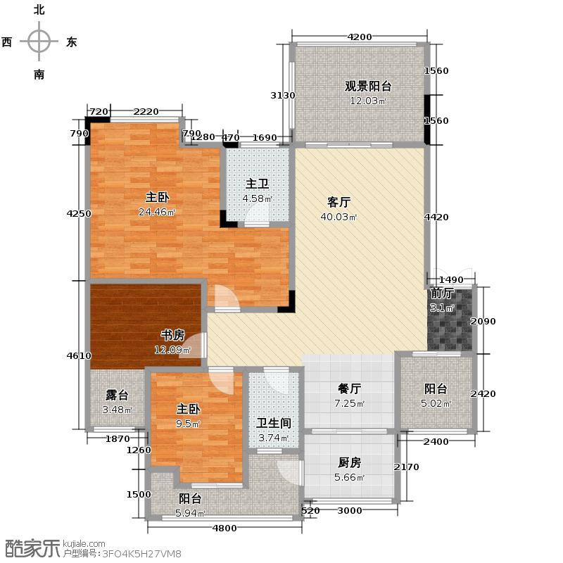 聚义香城雅郡104.42㎡一期2、7号楼F2户型3室1厅1卫1厨
