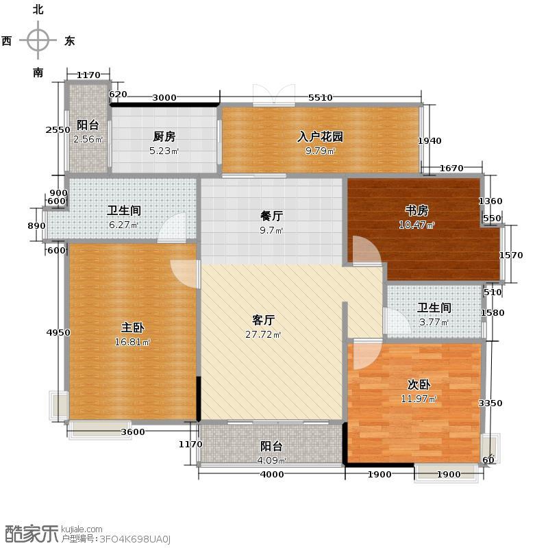 龙津华府121.40㎡C栋3-7层01户型3室2厅2卫