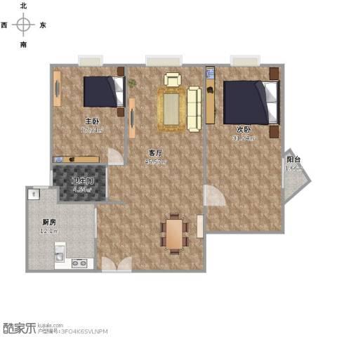 中信惠扬2室1厅1卫1厨148.00㎡户型图