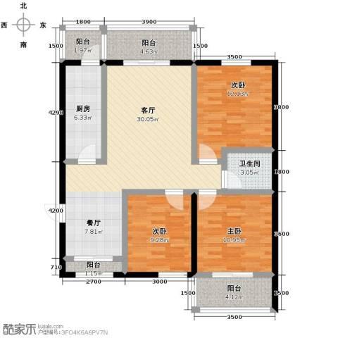 龙昌滨河源3室1厅1卫1厨126.00㎡户型图