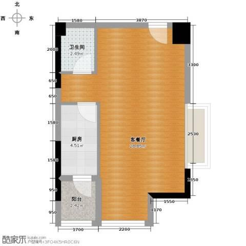 骏逸・第一江岸1厅1卫1厨70.00㎡户型图