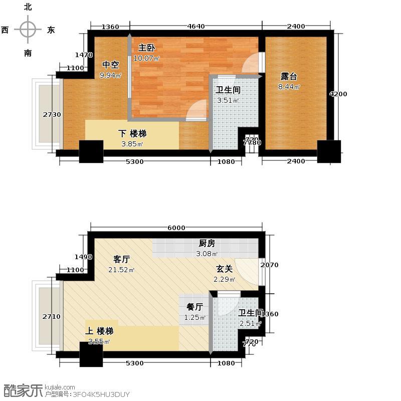 YOHO湾47.00㎡复式D4-12户型1室1厅1卫