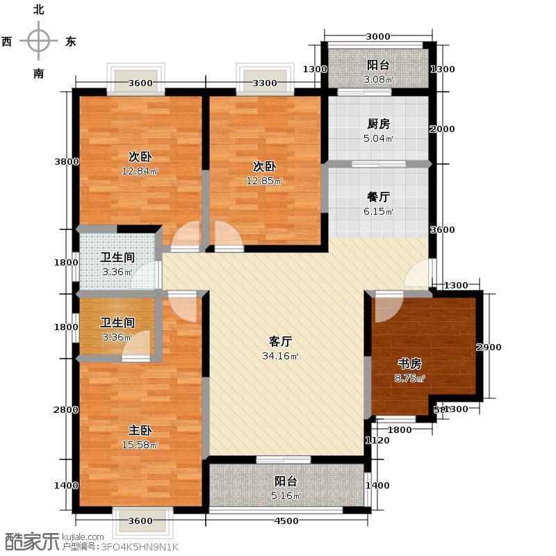 弘和美邻馆139.32㎡二期G南北通透、全明设计户型4室1厅2卫1厨