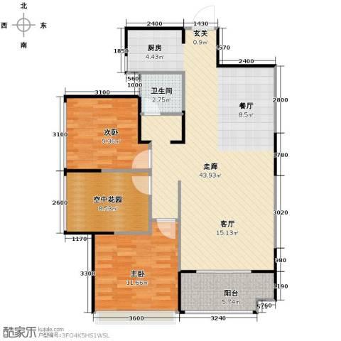 新里程潇湘名城2室2厅2卫0厨100.00㎡户型图