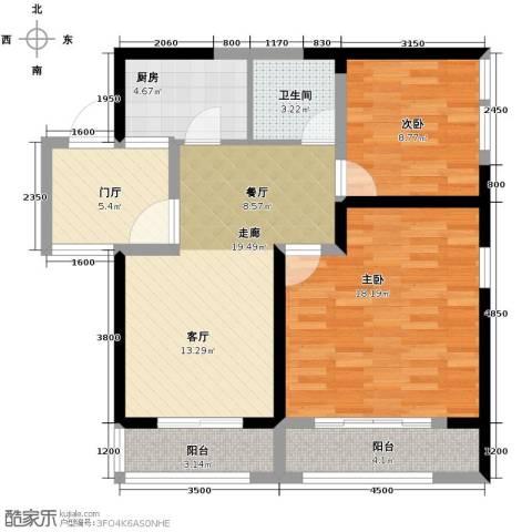 九形道2室2厅1卫0厨88.00㎡户型图
