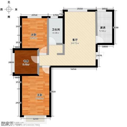 北京城建・上河湾3室1厅1卫1厨88.00㎡户型图