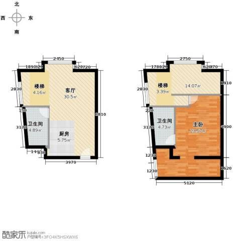 YOHO湾1室2厅1卫0厨77.76㎡户型图