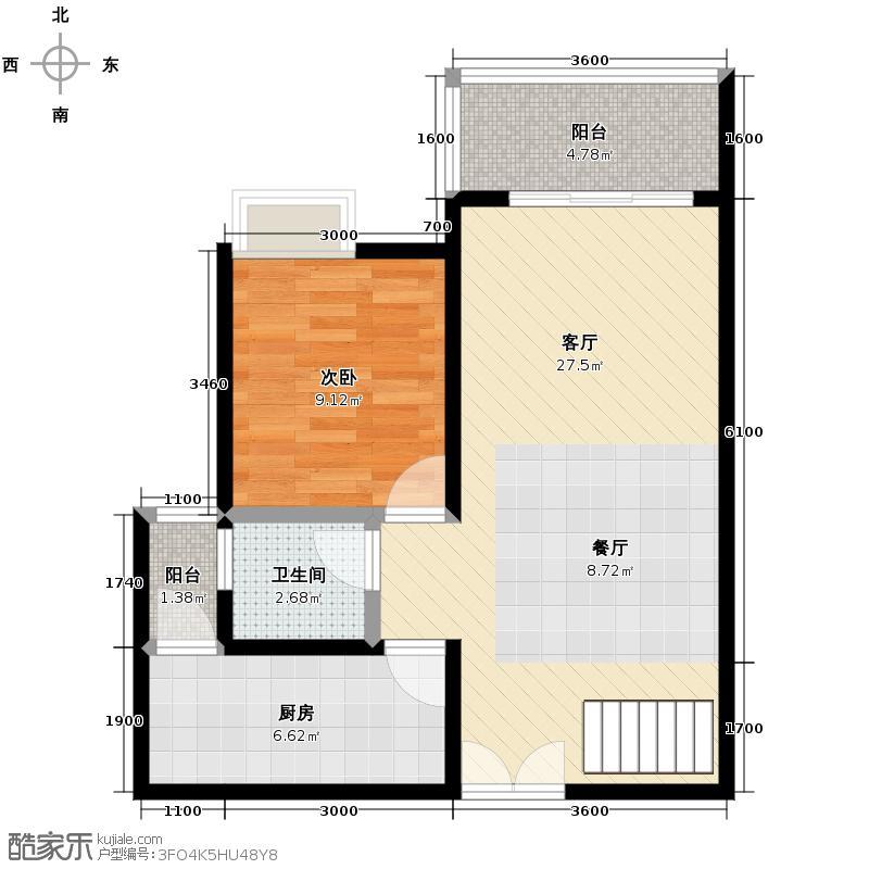 宏达世纪锦城100.00㎡2011年4月开盘2号楼D2跃层底层-双卫-户型1室1厅1卫1厨