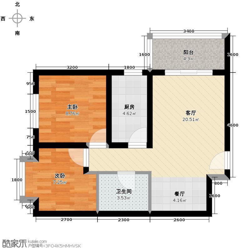 馨雅园77.02㎡4单元B-2户型2室2厅1卫