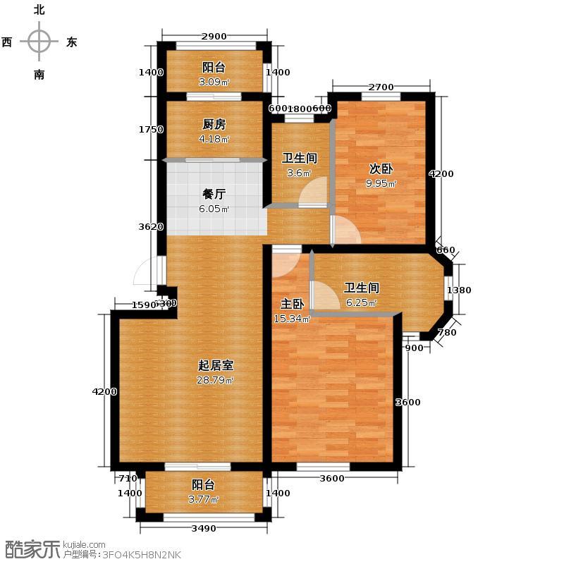 和远领居98.00㎡2/3/9/14/15/16#楼B1户型2室2厅2卫