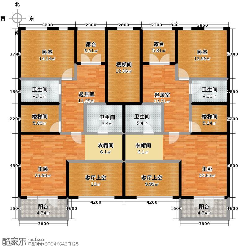 园墅208.04㎡C1a-b二层平面图户型10室