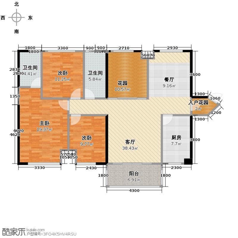 达美D6区127.47㎡D4户型3室2厅2卫