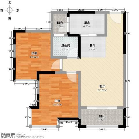 中房千寻2室1厅1卫1厨61.00㎡户型图