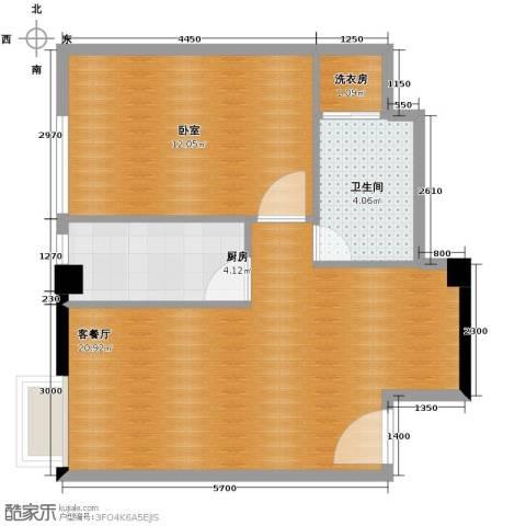 西安民乐园万达广场1室1厅1卫0厨61.00㎡户型图
