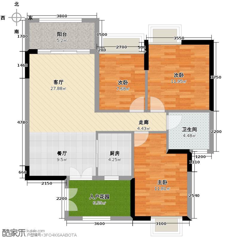 富力金港城99.00㎡H24栋04单元户型3室2厅1卫