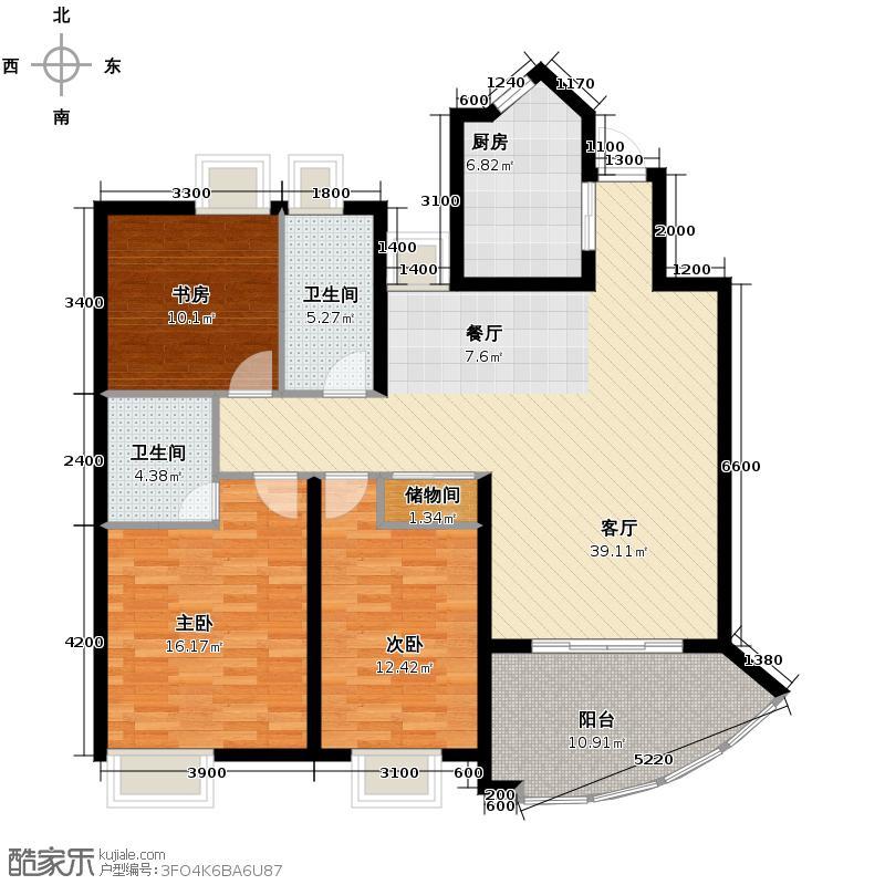 奥林花园119.44㎡三期户型3室2厅2卫