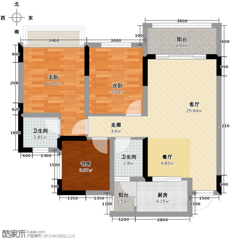 银茂江尚怡景81.32㎡一期1号楼标准层A6户型2室2厅1卫