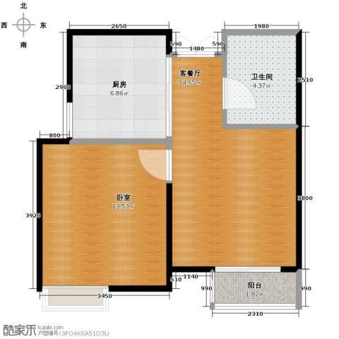 爱尚公寓1室2厅1卫0厨64.00㎡户型图