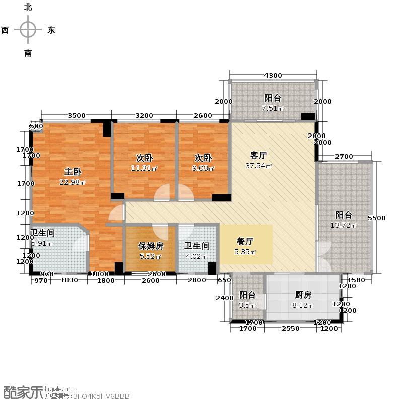 成都雅居乐花园142.70㎡A1-2户型10室