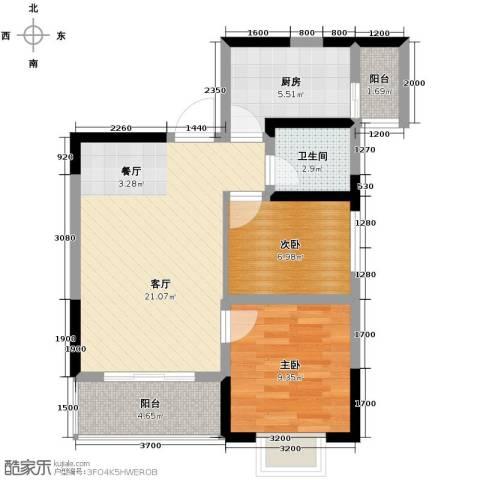恒鑫名城2室1厅1卫1厨76.00㎡户型图