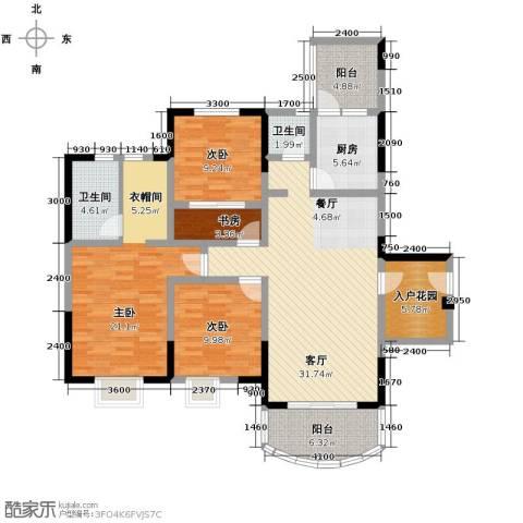 天邑宏御花园3室2厅2卫0厨153.00㎡户型图