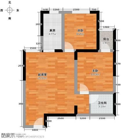 紫郡华宸2室1厅1卫0厨75.00㎡户型图