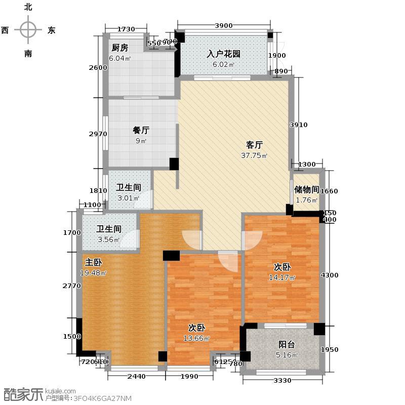 梅峰礼居124.47㎡2#3#楼户型3室2厅2卫