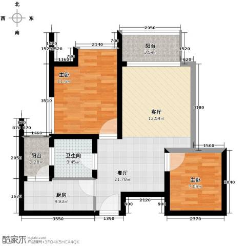 金辉苹果城2室1厅1卫1厨57.00㎡户型图