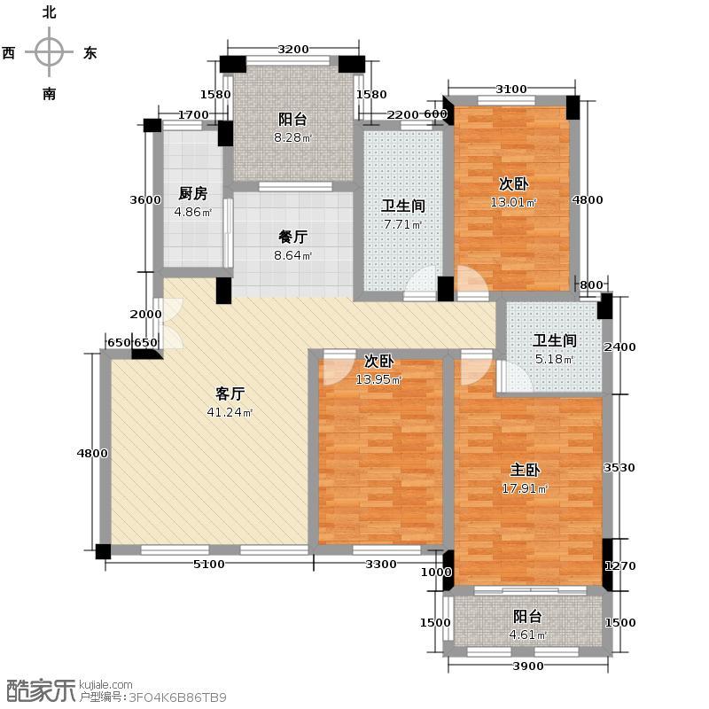香缇溪岸133.57㎡8栋楼4层D2户型3室2厅2卫