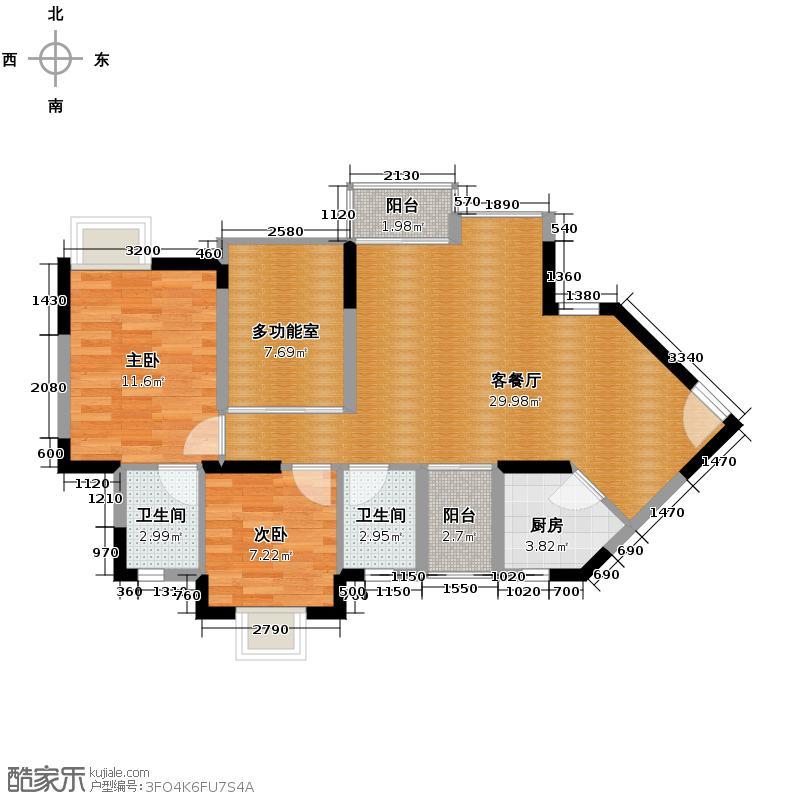 丰泰东海城堡90.00㎡7栋4单元0户型3室2厅2卫