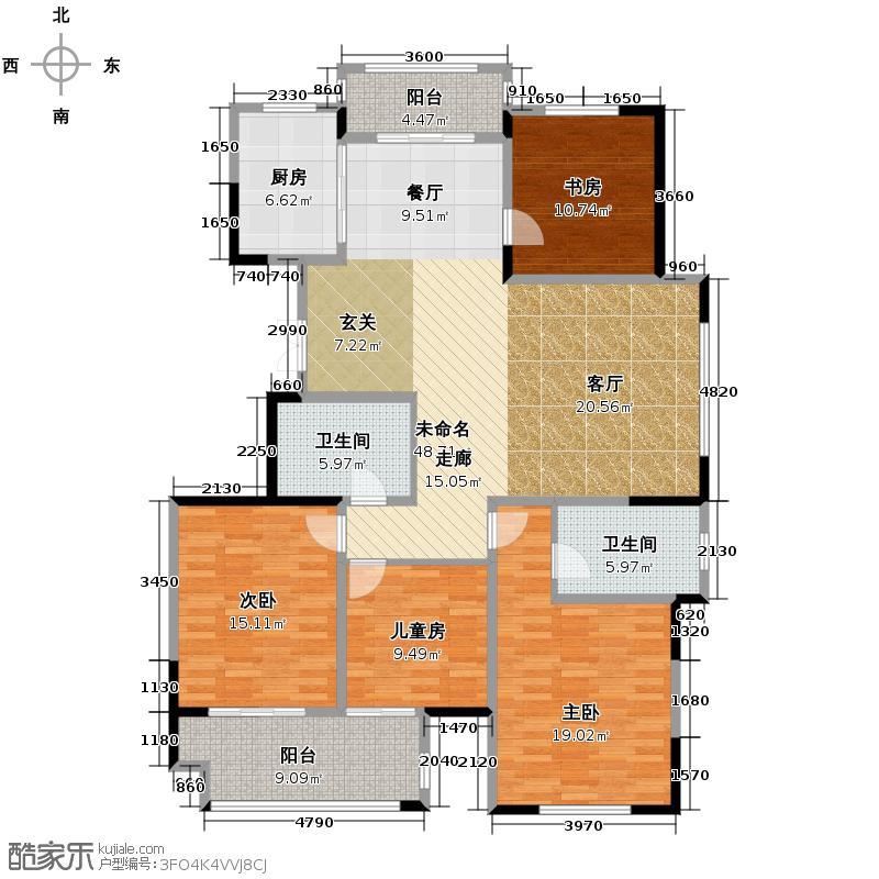 毓秀家园182.11㎡南苑户型4室2卫1厨