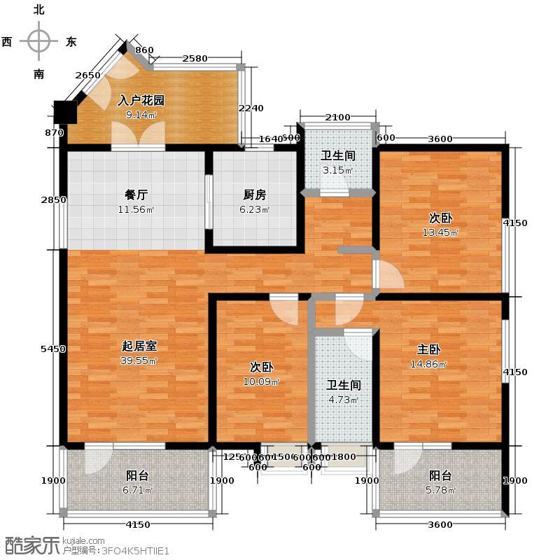 四季风情136.81㎡1II3-1-203户型3室2厅2卫