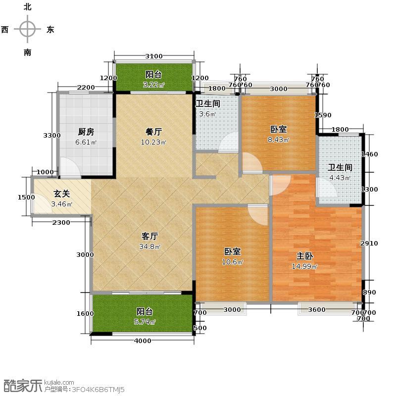 广电兰亭荣荟125.00㎡A3户型3室2厅2卫
