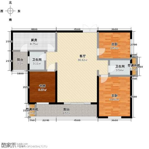 汇城上筑3室1厅2卫1厨112.12㎡户型图