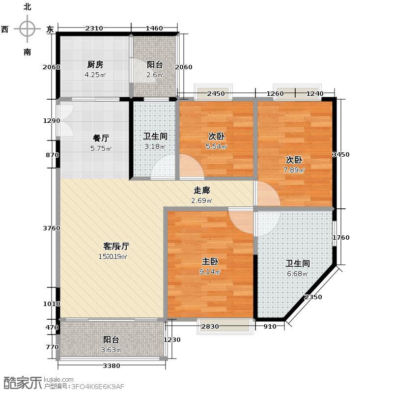 颐和盛世100.00㎡8号楼澜景台01户型3室2厅2卫