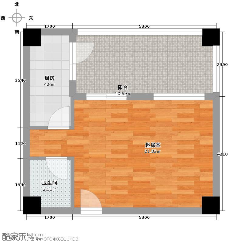 北欧丽景51.33㎡B2型户型1室1厅1卫