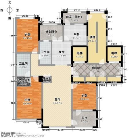 绿城玉兰花园3室2厅2卫0厨184.38㎡户型图