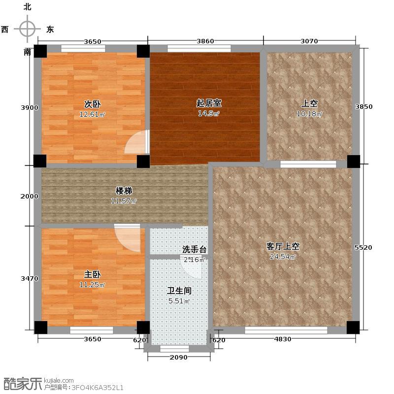 联发滨海琴墅66.00㎡别墅F2二层户型2室1厅1卫