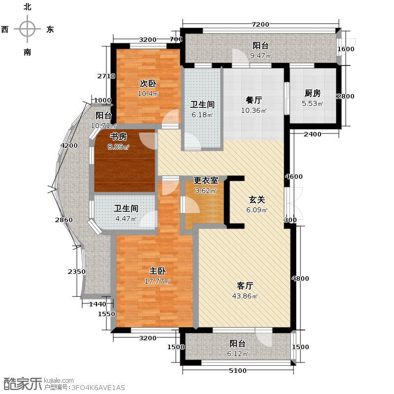 绿城紫薇广场160.00㎡D-L户型3室2厅2卫
