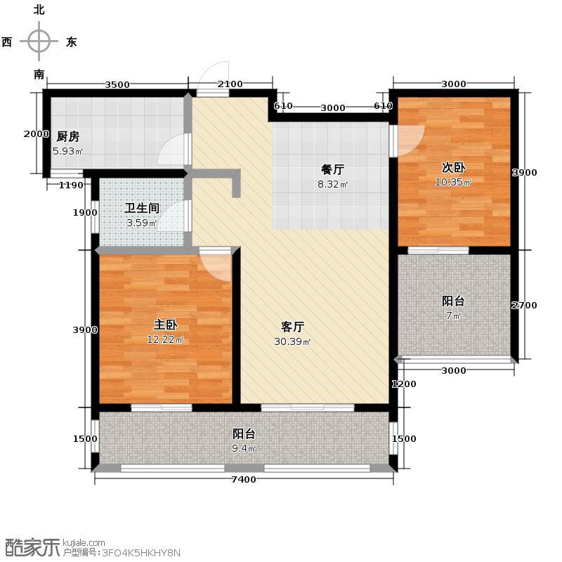 中建麓山和苑98.52㎡香思阁B2户型2室2厅1卫
