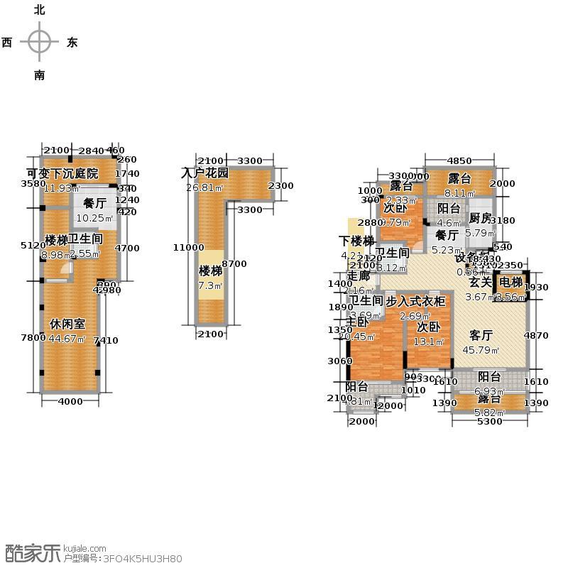 和泓四季188.00㎡二期洋房B2跃层花园户型3室4厅3卫