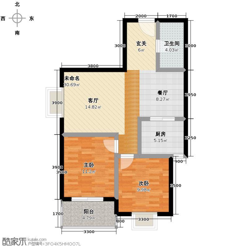 安诚御花苑92.27㎡在售B2-2-F1餐厨相连布局紧凑户型2室2厅1卫