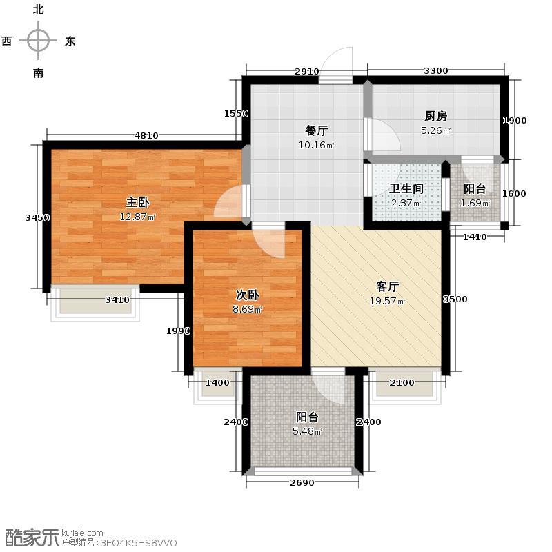 华宇金沙时代59.50㎡16号楼7号房户型2室1厅1卫1厨
