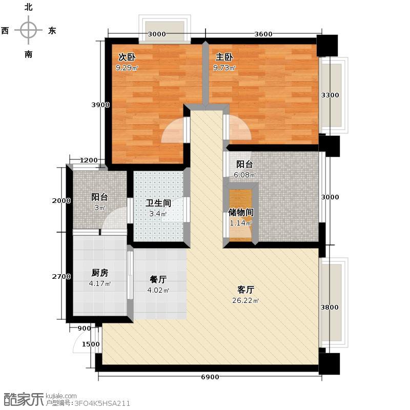 大鼎第一时间72.75㎡1号楼/6、7号房户型2室1厅1卫1厨