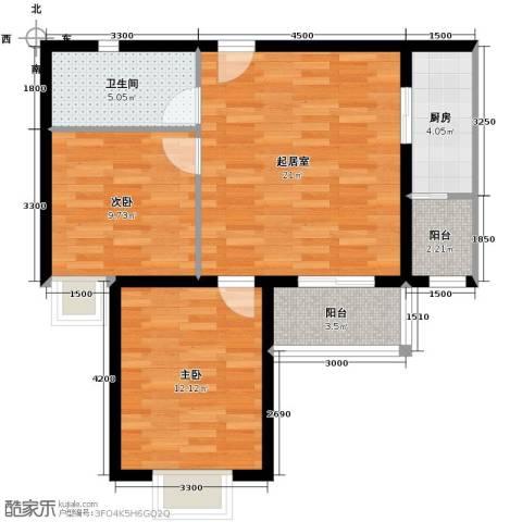 晟方佳苑2室0厅1卫1厨80.00㎡户型图