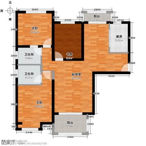中海曲江碧林湾3室0厅2卫1厨129.00㎡户型图