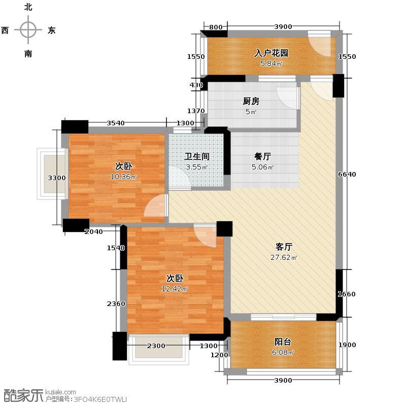 双楠尚品广场83.00㎡N户型2室1厅1卫